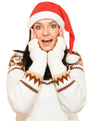 Portrait of beautiful  girl wearing santa claus clothe