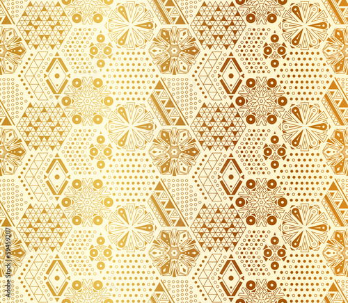 Seamless abstract geometric vector pattern of hexagons