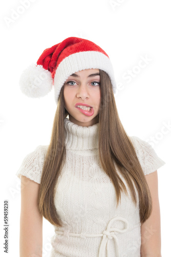 Santa girl making funny facial expression