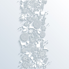 White Christmas season 3d banner seamless pattern