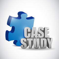 puzzle piece and case study sign. illustration