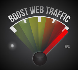boost web traffic speedometer. illustration