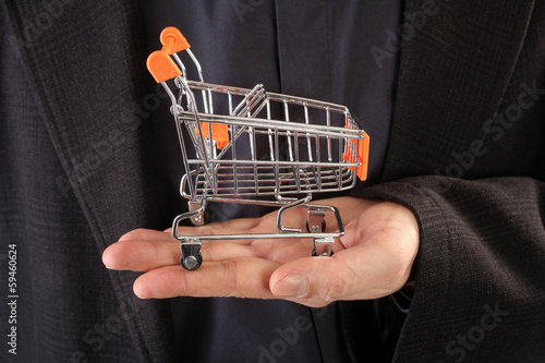 Shopping cart on palm
