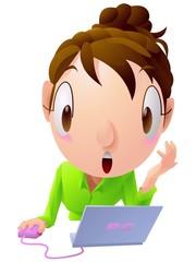 ビックリしている女性 ノートパソコン