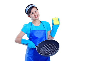 Lady And Cooking Pan