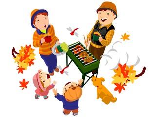 秋の紅葉と家族でバーベキュー