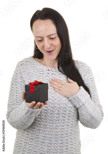 Appreciative woman receiving gift