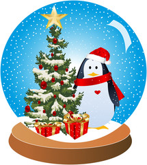 Christmas-Penguin Snow Glob Red
