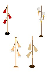 retro household pole lamps from sixties
