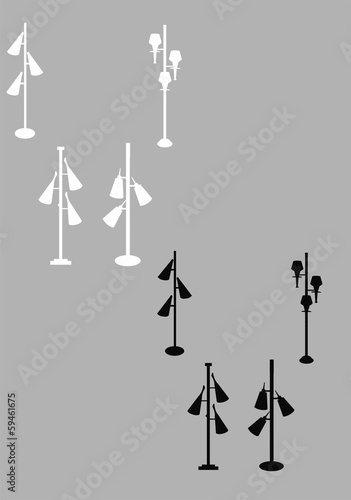 retro pole lamps in silhouette