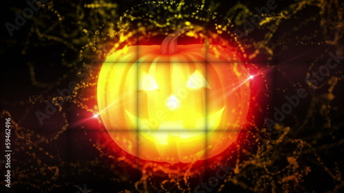 Pumpkins in Falling Cubes, with Green Screen, Loop