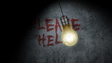 A light bulb with Please Help written in blood on the wall.