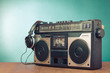 Retro ghetto blaster cassette tape recorder front mint green