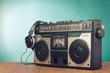 Retro ghetto blaster cassette tape recorder front mint green