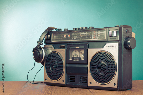 Retro ghetto blaster cassette tape recorder front mint green - 59462894