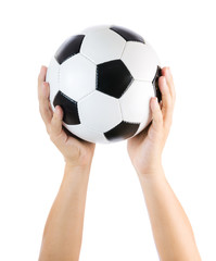 Hands holding soccer ball up isolated on white