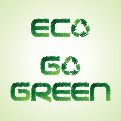 Sketched eco and go green word make by recycle icon of hand