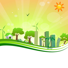 green city on the orange background