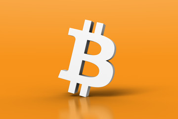 White 3D Bitcoin symbol on orange background