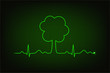 Eco heart beat. Cardiogram line forming tree shape