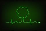 Eco heart beat. Cardiogram line forming tree shape
