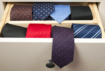 Neckties in wooden box