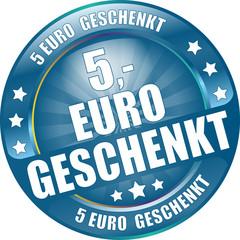 Bügel Button blau 5 Euro geschenkt