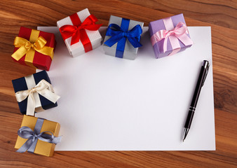 Blank card with gift boxes