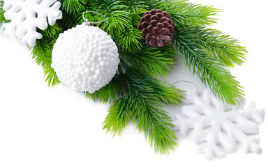 Christmas balls and snowflake on fir tree, isolated on white
