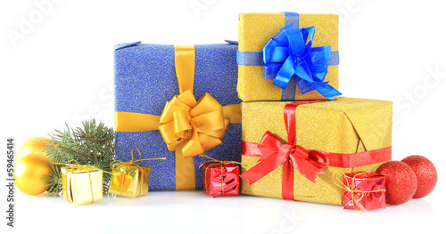 Beautiful bright gifts and christmas decor, isolated on white