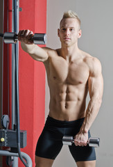 Muscular shirtless young man working out in gym with dumbbells