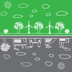 green and pollution city