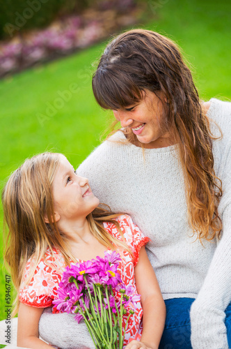 Portrait of happy mother and daughter