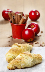 French croissants on wooden table