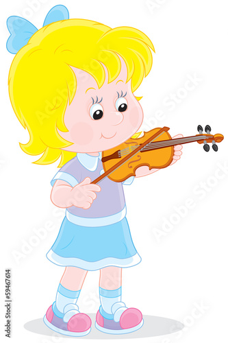 Girl playing her small violin