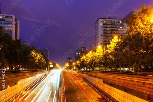Paseo de la Castellana in  night. Madrid