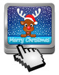 Reindeer Rudolph wishing Merry Christmas Button with cursor