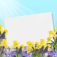 Postcard with fresh flowers  and empty  place for your text