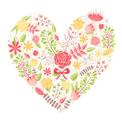 Beautiful flower heart postcard