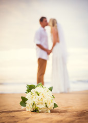 Bride and Groom, Newly Married Couple on the Beach, Just Married