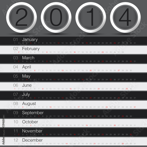 2014 year calendar minimal black theme