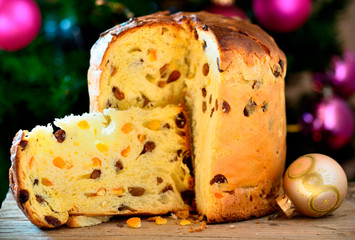 Panettone traditional italian winter cake.Italian food.