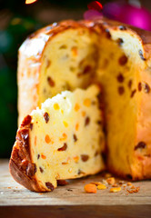 Panettone italian cake.Typical italian holidays food.