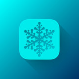 Blue Abstract App Icon Template with Snowflake