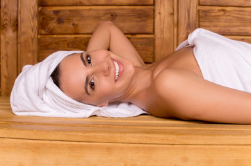 Beauty in sauna.
