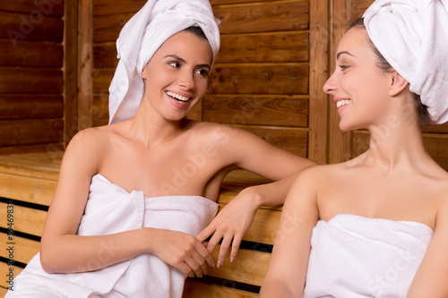 Girls in sauna.