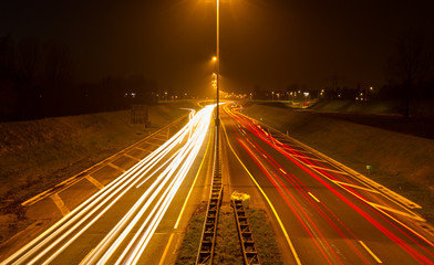 Lights of traffic on a highway