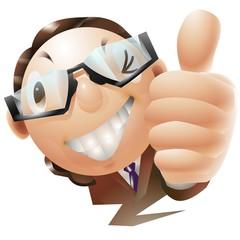 グッジョブをするメガネをかけたビジネスマン
