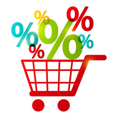 Shopping cart with percent symbols