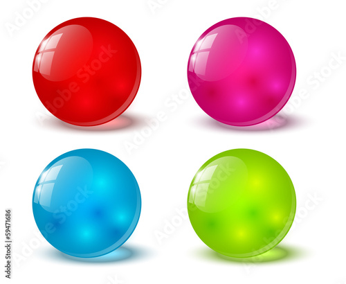 Set of color glossy balls